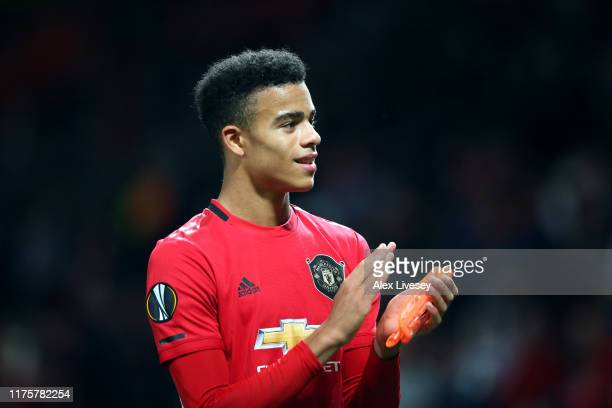 Mason Greenwood of Manchester United celebrates victory during the UEFA Europa League group L match between Manchester United and FK Astana at Old...