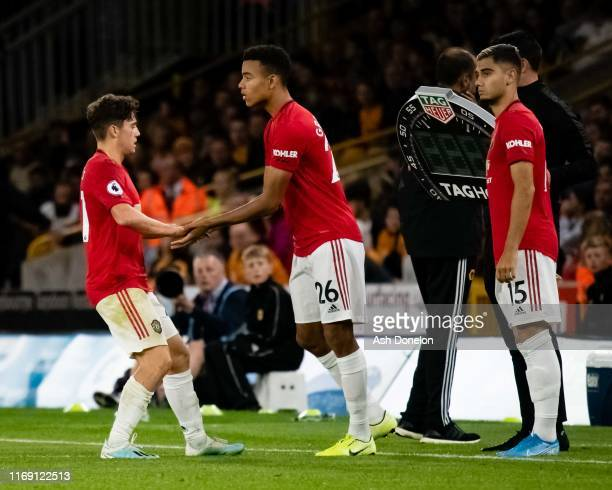 Mason Greenwood of Manchester United comes on as a substitute during the Premier League match between Wolverhampton Wanderers and Manchester United...