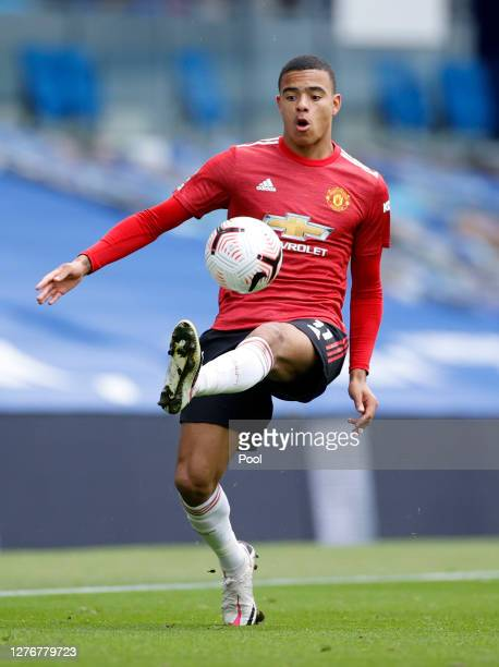 Mason Greenwood of Manchester United controls the ball during the Premier League match between Brighton Hove Albion and Manchester United at American...