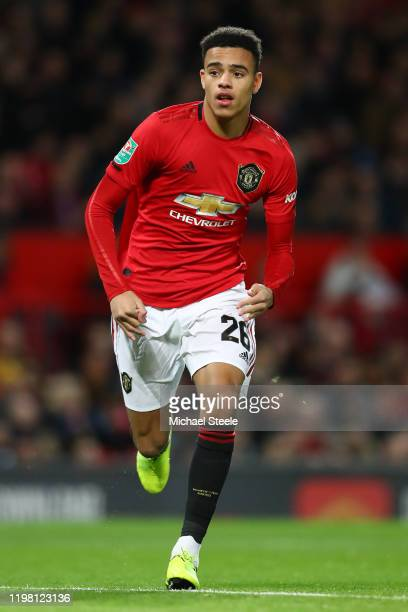 Mason Greenwood of Manchester United during the Carabao Cup Semi Final match between Manchester United and Manchester City at Old Trafford on January...