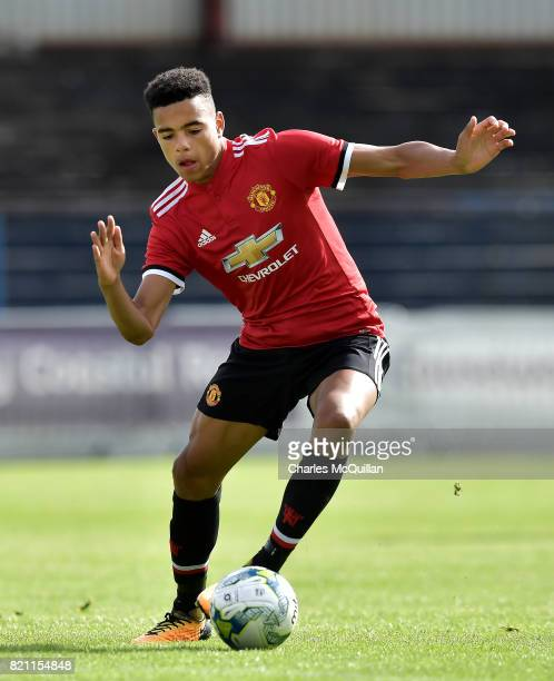 Mason Greenwood of Manchester United during the NI Super Cup game between Manchester United u18s and Northern Ireland u18s at the Showgrounds on July...