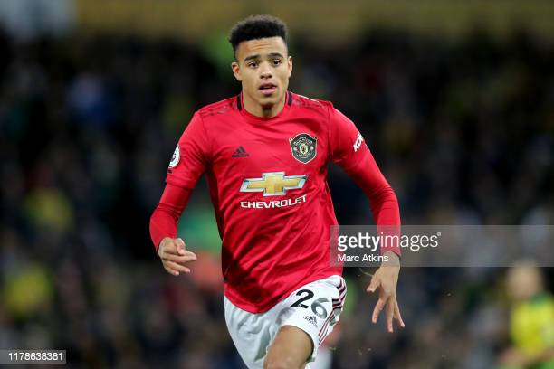 Mason Greenwood of Manchester United during the Premier League match between Norwich City and Manchester United at Carrow Road on October 27 2019 in...