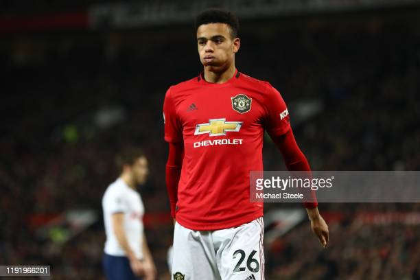 Mason Greenwood of Manchester United during the Premier League match between Manchester United and Tottenham Hotspur at Old Trafford on December 04...