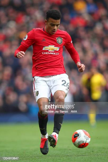 Mason Greenwood of Manchester United during the Premier League match between Manchester United and Watford FC at Old Trafford on February 23 2020 in...