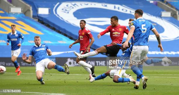 Mason Greenwood of Manchester United has a shot on goal during the Premier League match between Brighton Hove Albion and Manchester United at...