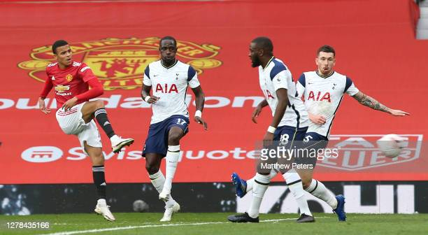 Mason Greenwood of Manchester United has a shot on goal during the Premier League match between Manchester United and Tottenham Hotspur at Old...