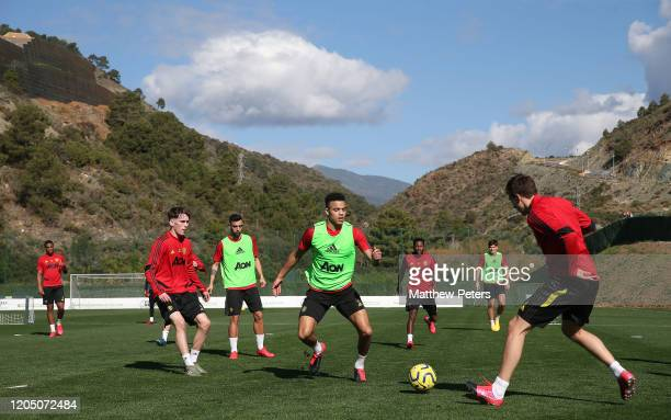 Mason Greenwood of Manchester United in action during a first team training session on February 09 2020 in Malaga Spain