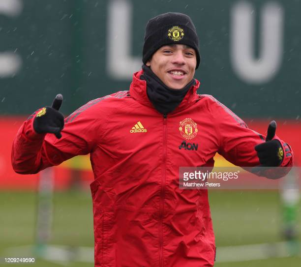 Mason Greenwood of Manchester United in action during a first team training session at Aon Training Complex on February 28 2020 in Manchester England