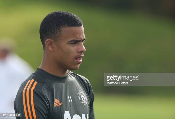 Mason Greenwood of Manchester United in action during a first team training session at Aon Training Complex on September 24 2020 in Manchester England