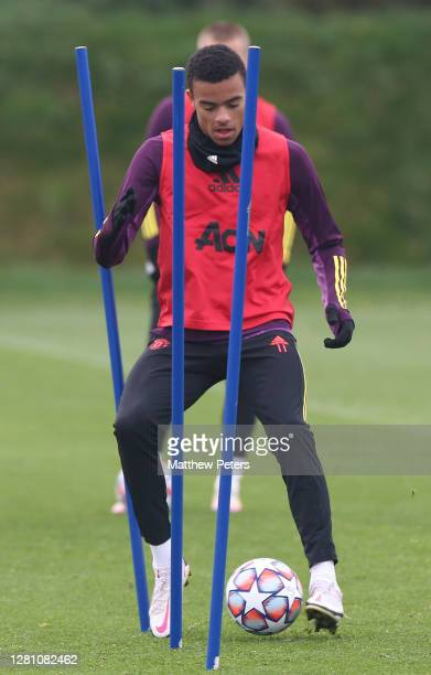 Mason Greenwood of Manchester United in action during a first team training session ahead of the UEFA Champions League Group H stage match between...