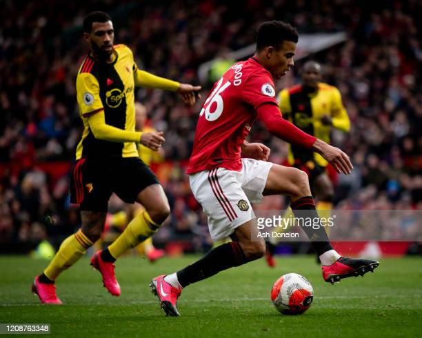 Mason Greenwood of Manchester United in action during the Premier League match between Manchester United and Watford FC at Old Trafford on February...