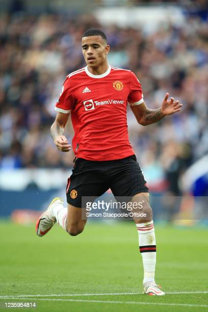 Mason Greenwood of Manchester United in action during the Premier League match between Leicester City and Manchester United at The King Power Stadium...