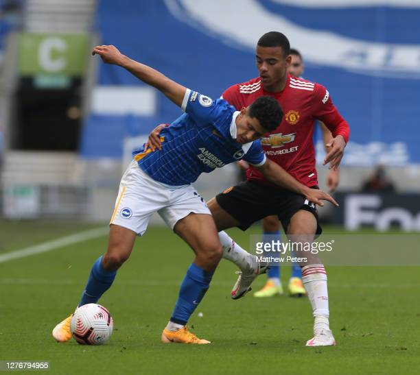 Mason Greenwood of Manchester United in action during the Premier League match between Brighton Hove Albion and Manchester United at American Express...