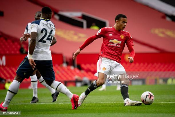 Mason Greenwood of Manchester United in action during the Premier League match between Manchester United and Tottenham Hotspur at Old Trafford on...