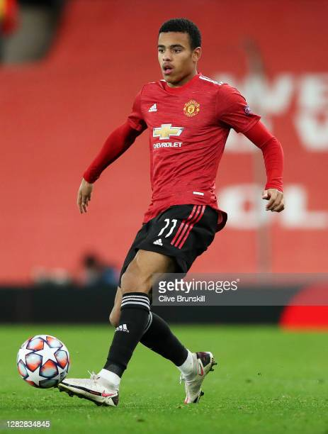 Mason Greenwood of Manchester United in action during the UEFA Champions League Group H stage match between Manchester United and RB Leipzig at Old...