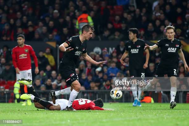 Mason Greenwood of Manchester United is fouled resulting in a penalty during the UEFA Europa League group L match between Manchester United and AZ...