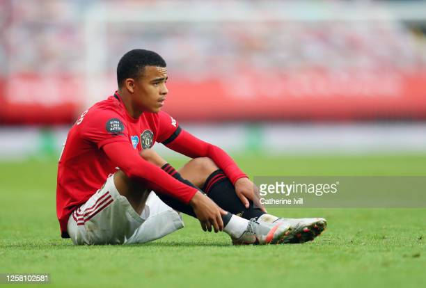 Mason Greenwood of Manchester United looks dejected following the Premier League match between Manchester United and West Ham United at Old Trafford...