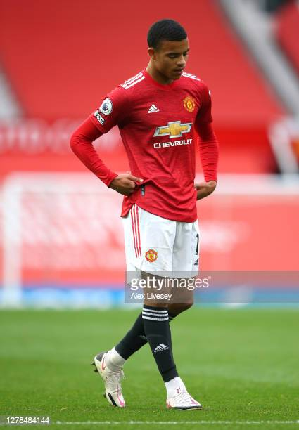 Mason Greenwood of Manchester United looks on during the Premier League match between Manchester United and Tottenham Hotspur at Old Trafford on...