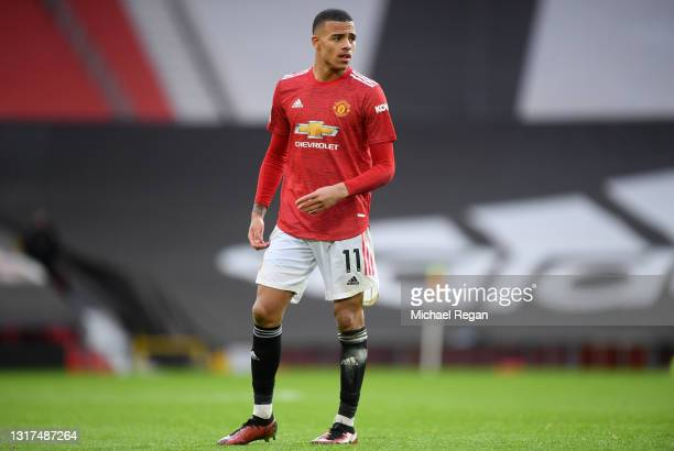 Mason Greenwood of Manchester United looks on during the Premier League match between Manchester United and Leicester City at Old Trafford on May 11,...
