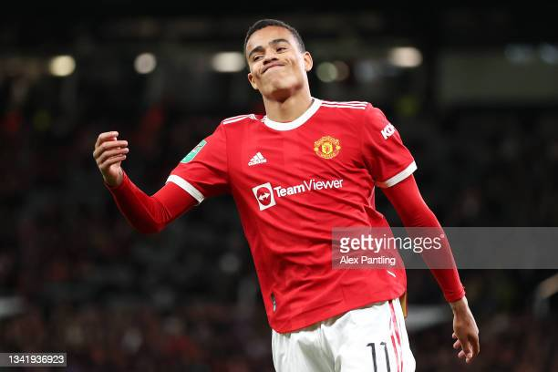 Mason Greenwood of Manchester United reacts during the Carabao Cup Third Round match between Manchester United and West Ham United at Old Trafford on...