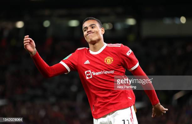 Mason Greenwood of Manchester United reacts to a missed chance during the Carabao Cup Third Round match between Manchester United and West Ham United...