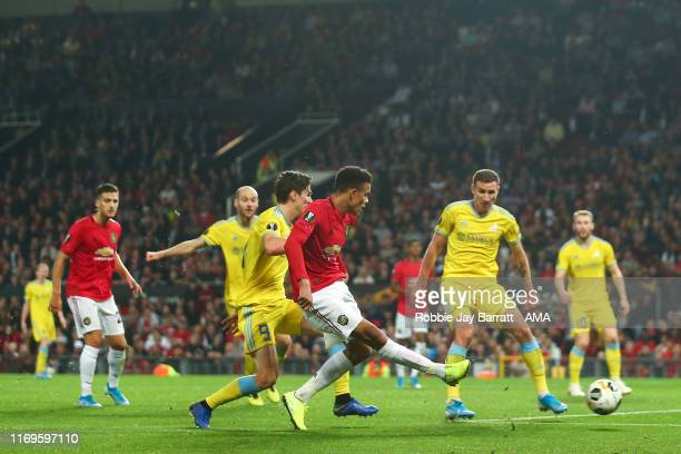 Mason Greenwood of Manchester United scores a goal to make it 1-0 during the UEFA Europa League group L match between Manchester United and FK Astana...