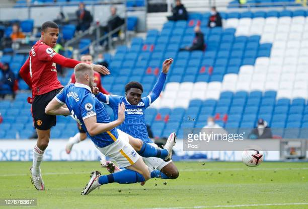 Mason Greenwood of Manchester United scores a goal which is then disallowed during the Premier League match between Brighton Hove Albion and...