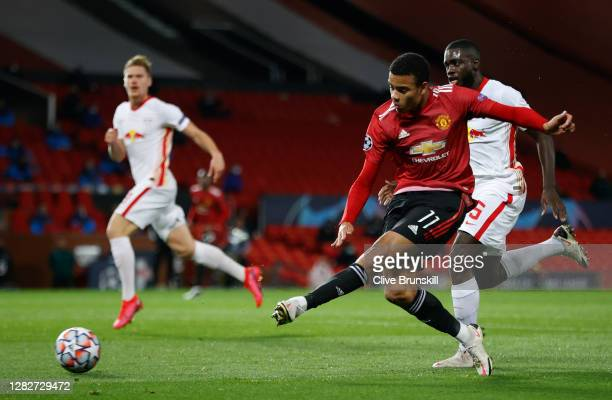 Mason Greenwood of Manchester United scores his sides first goal during the UEFA Champions League Group H stage match between Manchester United and...
