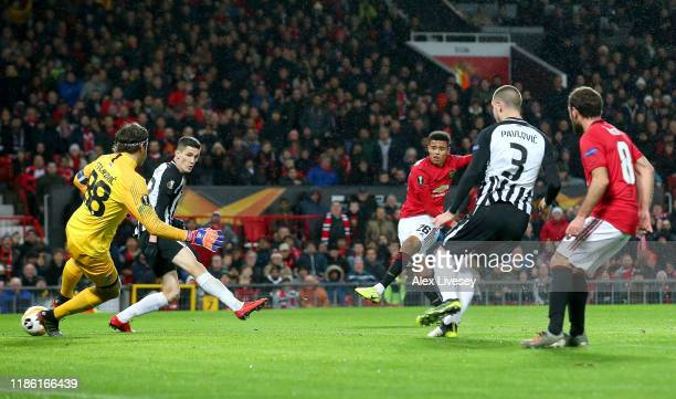 Mason Greenwood of Manchester United scores his team's first goal during the UEFA Europa League group L match between Manchester United and Partizan...