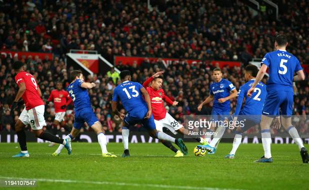 Mason Greenwood of Manchester United scores his team's first goal during the Premier League match between Manchester United and Everton FC at Old...