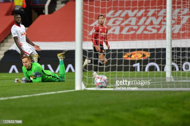 Mason Greenwood of Manchester United scores his team's first goal during the UEFA Champions League Group H stage match between Manchester United and...