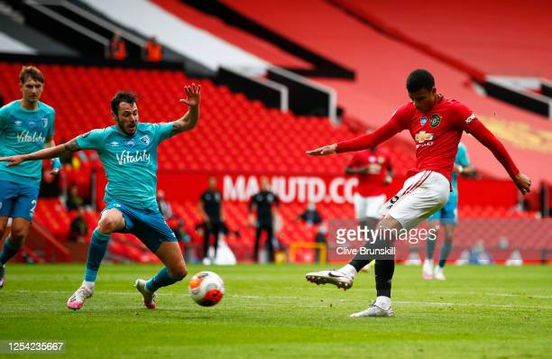 Mason Greenwood of Manchester United scores his team's first goal during the Premier League match between Manchester United and AFC Bournemouth at...