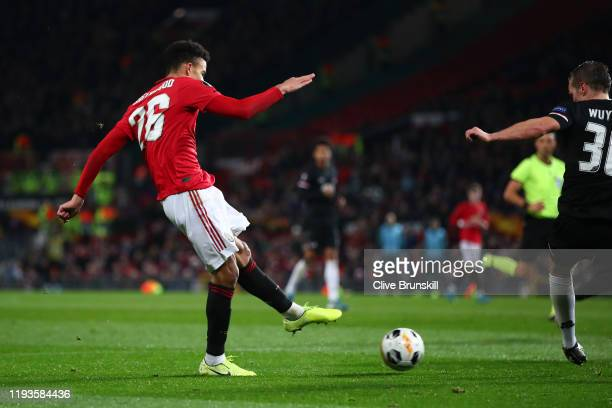 Mason Greenwood of Manchester United scores his team's fourth goal during the UEFA Europa League group L match between Manchester United and AZ...