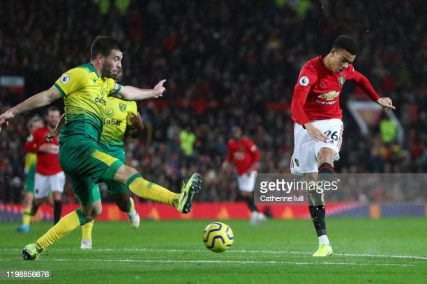 Mason Greenwood of Manchester United scores his team's fourth goal during the Premier League match between Manchester United and Norwich City at Old...