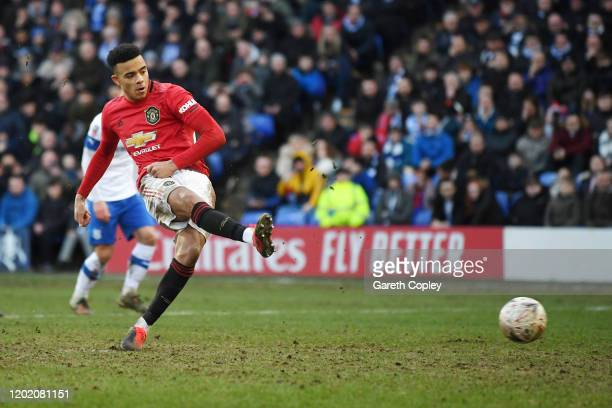 Mason Greenwood of Manchester United scores his team's sixth goal from the penalty spot during the FA Cup Fourth Round match between Tranmere Rovers...