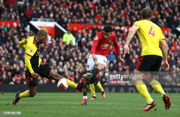 Mason Greenwood of Manchester United scores his team's third goal during the Premier League match between Manchester United and Watford FC at Old...