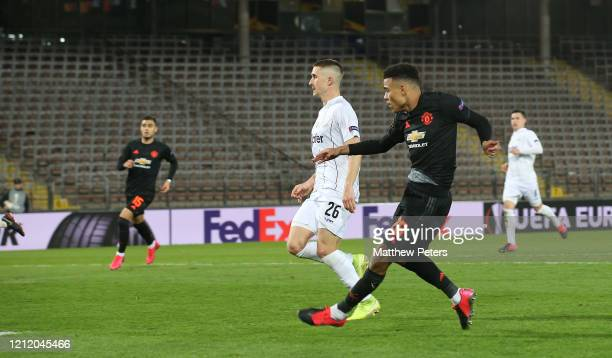 Mason Greenwood of Manchester United scores their fourth goal during the UEFA Europa League round of 16 first leg match between LASK and Manchester...