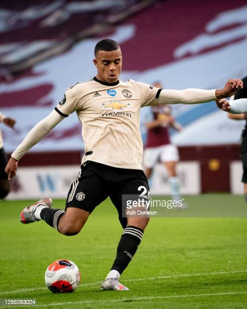 Mason Greenwood of Manchester United scores their second goal during the Premier League match between Aston Villa and Manchester United at Villa Park...