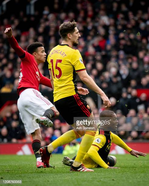 Mason Greenwood of Manchester United scores their third goal during the Premier League match between Manchester United and Watford FC at Old Trafford...