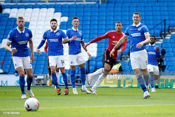 Mason Greenwood of Manchester United shoots during the Premier League match between Brighton Hove Albion and Manchester United at American Express...
