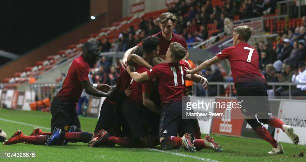 Mason Greenwood of Manchester United U18s celebrates scoring their first goal during the FA Youth Cup Third Round match between Manchester United...