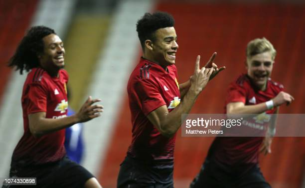 Mason Greenwood of Manchester United U18s celebrates scoring their second goal during the FA Youth Cup Third Round match between Manchester United...