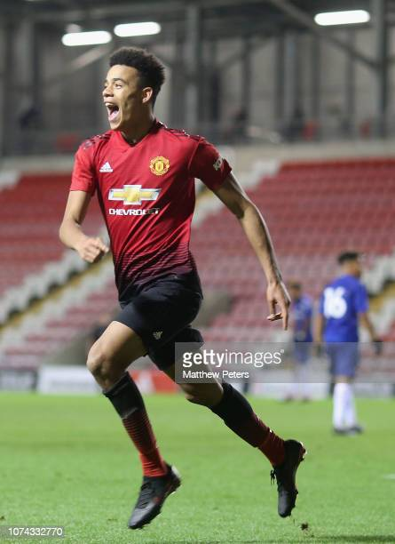 Mason Greenwood of Manchester United U18s celebrates scoring their fourth goal during the FA Youth Cup Third Round match between Manchester United...