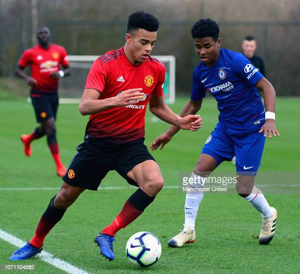 Mason Greenwood of Manchester United U18s in action during the Under18 Premier League Cup match between Manchester United U18s and Chelsea U18s at...