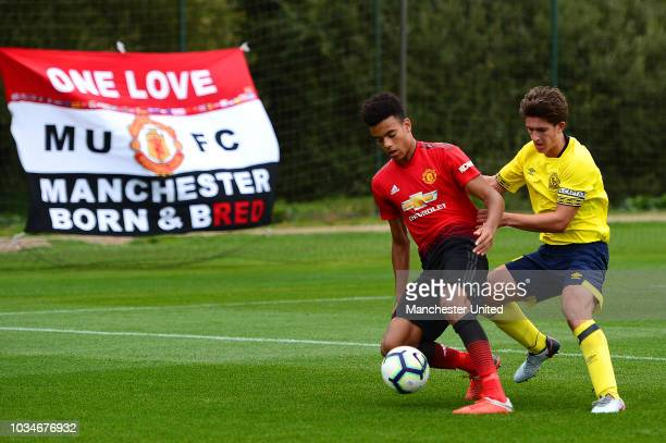 Mason Greenwood of Manchester United U18s in action during the U18 Premier League North match between Manchester United U18s and Blackburn Rovers...
