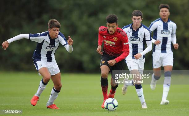 Mason Greenwood of Manchester United U18s in action during the U18 Premier League match between Manchester United U8s and West Bromwich Albion U18s...