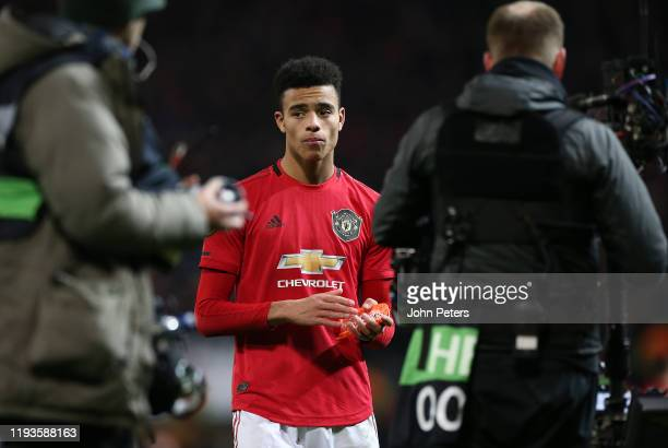 Mason Greenwood of Manchester United walks off after the UEFA Europa League group L match between Manchester United and AZ Alkmaar at Old Trafford on...