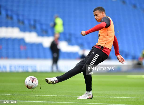 Mason Greenwood of Manchester United warms up prior to the Premier League match between Brighton Hove Albion and Manchester United at American...