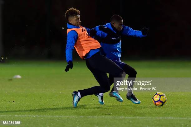 Mason Holgate and Ademola Lookman during the Everton training session at USM Finch Farm on November 28 2017 in Halewood England