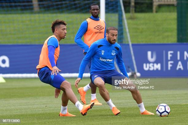 Mason Holgate and Cenk Tosun during the Everton FC training session at USM Finch Farm on May 11 2018 in Halewood England